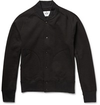 Reigning Champ Fleece Backed Cotton Jersey Varsity Jacket Black