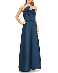 Kay Unger New York Strapless Gown W 3D Bow And Pockets Deep Sea