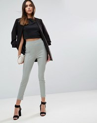 Asos High Waisted Skinny Crop Pants Green