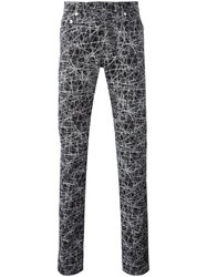 Christian Dior Homme Lines Print Trousers Black
