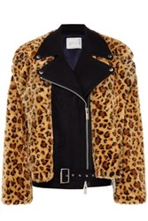 Sacai Wool And Leopard Print Faux Fur Biker Jacket Leopard Print