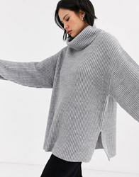 Topshop Jumper With Roll Neck In Grey Marl