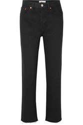 Re Done Stove Pipe Rigid High Rise Straight Leg Jeans Black