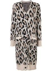 R 13 R13 Cashmere Long Leopard Cardigan Nude And Neutrals