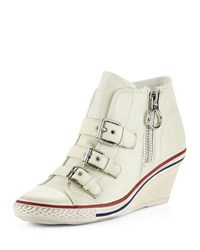 Ash Gin Bis Buckled Leather Wedge Sneaker Off White
