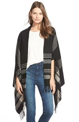 Women's Madewell 'Border' Plaid Cape Scarf Black