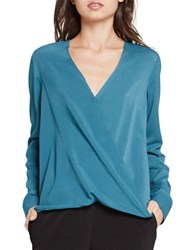 Bcbgeneration Long Sleeve Surplice Top Cerulean