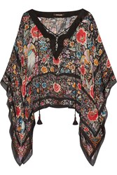 Roberto Cavalli Printed Silk Chiffon Top Purple