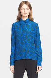 Stella Mccartney 'Lindy' Paisley Print Silk Shirt Bright Blue