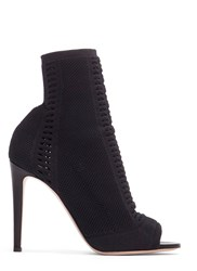 Gianvito Rossi Vires Heeled Knit Ankle Boots Black