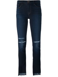 J Brand Distressed Slim Fit Cropped Jeans Blue