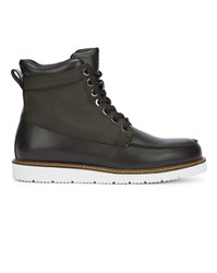 Armani Jeans Brown Dual Material Canvas And Leather Boots
