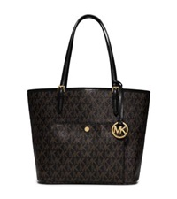 Michael Kors Jet Set Large Logo Tote Black Dark Brown