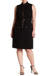 Sharagano Sleeveless Waist Belt Shirt Dress Plus Size Black