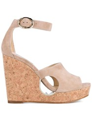 Jimmy Choo Neyo 120 Suede Cork Cutout Wedges Nude And Neutrals