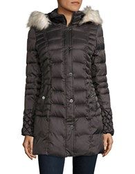 Betsey Johnson Faux Fur Trimmed Puffer Coat Steel