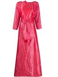 Daniela Gregis Crinkled Belted Gown Red