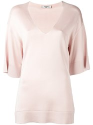 Lanvin Loose Fit V Neck Blouse Nude Neutrals