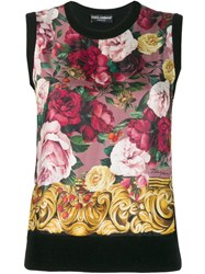 Dolce And Gabbana Knitted Cashmere Floral Vest Black