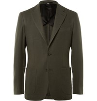 Hardy Amies Green Slim Fit Cashmere Blazer Green