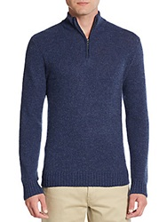 Saks Fifth Avenue Cashmere Tweed Pullover Light Blue