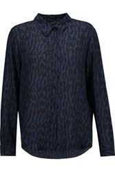Belstaff Whitley Printed Silk Georgette Shirt Storm Blue