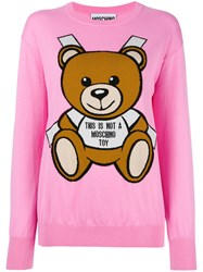 Moschino Toy Bear Paper Cut Out Jumper Pink Purple