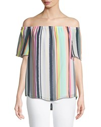 London Times Off The Shoulder Chiffon Swing Blouse Multi Pattern