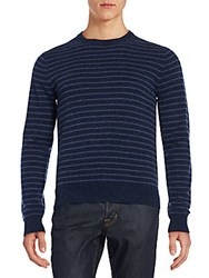 Saks Fifth Avenue Striped Cashmere Sweater Blue