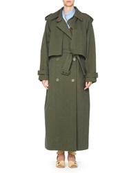Stella Mccartney Long Cotton Trenchcoat Olive