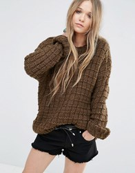 Moon River Knitted Top Olive Green