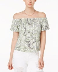 Guess Amore Printed Off The Shoulder Top Snake In The Garden Scuffy