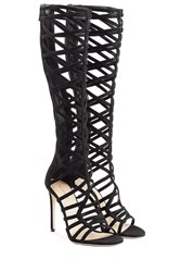 Tamara Mellon Suede Cutout Sandals Black
