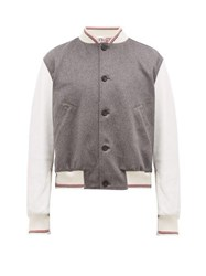 Thom Browne Cashmere And Leather Bomber Jacket Grey