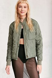 Silence And Noise Quilted Liner Bomber Jacket Olive