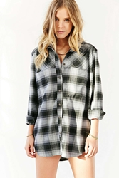 Bdg Devon Flannel Button Down Shirt Black Multi