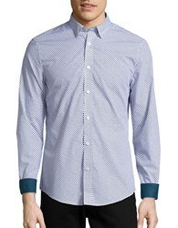 Ben Sherman Slim Fit Patterned Sportshirt Bright White Blue