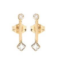 Loren Stewart Bar Stud Diamond And Sapphire 14Kt Yellow Gold Earrings