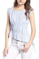 Trouve Ruched Poplin Top Blue White Pinstripe