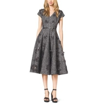 Michael Kors Embroidered Herringbone Wool Dress Charcoal