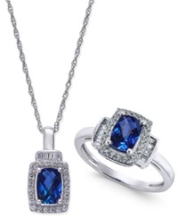 Macy's Lab Created Blue Sapphire 2 Ct. T.W. And White Sapphire 5 8 Ct. T.W. Pendant Necklace And Matching Ring Set In Sterling Silver