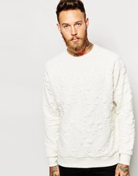 Weekday Crew Sweatshirt Jazz Tonal Quilted Embroid White