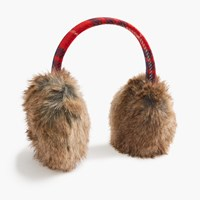 J.Crew Faux Fur Earmuffs Red Navy