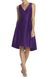 Alfred Sung Women's Satin High Low Fit And Flare Dress Majestic