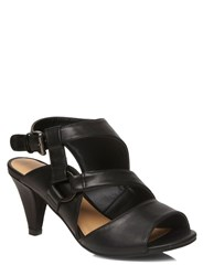 Evans Extra Wide Black Cut Out Strappy Heels