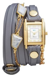 Women's La Mer Collections Leather And Stone Wrap Watch 28Mm
