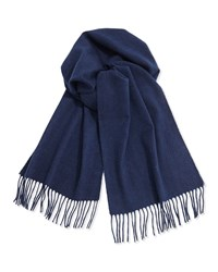 Neiman Marcus Cashmere Solid Fringe Scarf Navy
