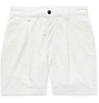 Albam Slim Fit Garment Dyed Pleated Cotton Ripstop Shorts White