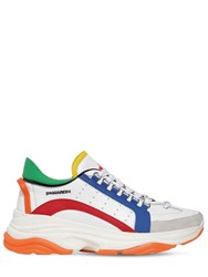 Dsquared 551 Bumpy Leather And Suede Sneakers White Red Orange