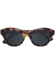Linda Farrow Blurred Leopard Print Sunglasses Brown